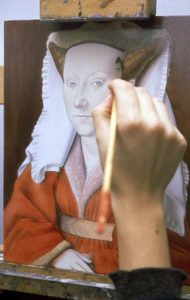 Dipinto esemplificativo delle procedure tecniche utilizzate da Van Eyck
