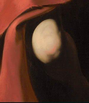 Caravaggio, San Giovanni Battista, Nelson-Atkins Museum, particolare in luce visibile