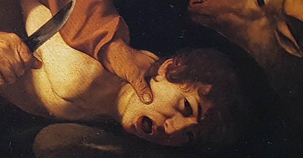 Caravaggio, Sacrificio di Isacco, Uffizi, particolare in luce visibile