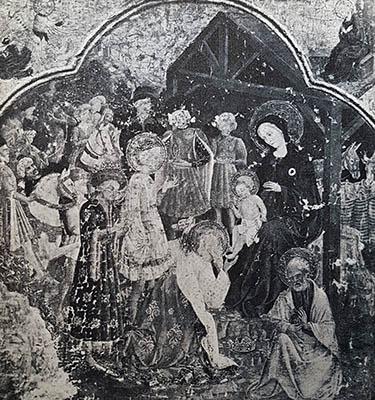 Adorazione dei Magi, falsificazione moderna nello stile del primo Quattrocento fiorentino. Collage di motivi presi a prestito dal celebre polittico di Gentile da Fabriano agli Uffizi