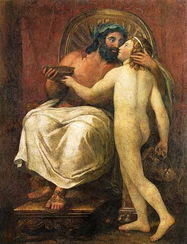 Anton Raphael Mengs, Giove che bacia Ganimende, falso affresco pompeiano