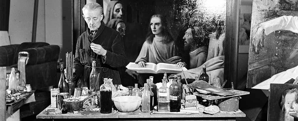 Hans Van Meegeren nel suo studio, 1945